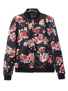 Shop Vintage Floral Bomber Coat from choies.com .Free shipping Worldwide.