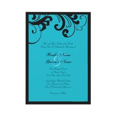 Fun and Stylish Black and Turquoise swirls Wedding Invitation  This classy and chic wedding invitation features a stylish black swirls and boarder against a Turquoise blue colored background. Fully customizable text allows you to customize for any occasion from weddings to bridal showers and wedding showers!