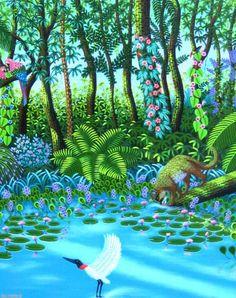 """""""DE MARCHI"""" (NAIVE ART) DE MARCHI (©2008 artmajeur.com/demarchi-naif) NO FRESCOR DA MATA - TINTA ACRÍLICA SOBRE TELA - 80 X 60 CMS. - ANO 2008 - FAZ PARTE DO ACÊRVO DE COLECIONADOR BRASILEIRO."""