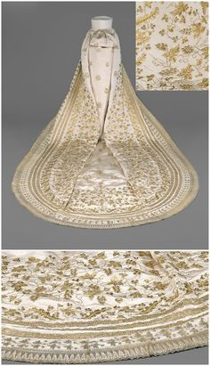 """Wedding train of Empress Elisabeth (""""Sisi""""), 1854, Kaiserliche Wagenburg Wien (Imperial Carriage Museum, Vienna), via Google Cultural Institute. Monica Kurzel-Runtscheiner: """"At her wedding on 24 April 1854 Sisi wore a white silk dress with rich embroidery in gold and silver as well as a long, gold-embroidered """"court train"""", which was worn over the dress... This train was kept by Sisi''s favourite daughter, Archduchess Marie Valerie, as a special memento."""" CLICK THROUGH FOR LARGER, HI-RES…"""