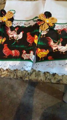 Pano de copa galo e galinha