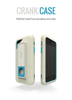 Crank Case - Smartphone iPhone Case allows you to hand crank charge your phone for power whenever you need it. #smartphone #charger #YankoDesign