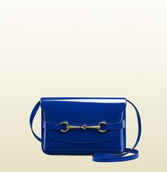 Gucci - deep blue patent leather shoulder bag with horsebit ...