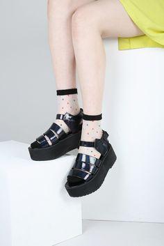 4acf7c789110 Triple Strap Chunky Sandal Black Hologram Chunky Sandals