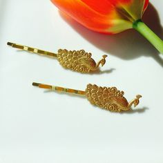 Gold Peacock Hair Pins