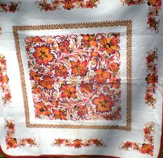 Small Vintage Tablecloth - Cotton Centerpiece - Mid Century Orange Floral - Square Tablecloths - Outdoor Wedding Rustic Reception Table Top by chloeswirl on Etsy Square Tablecloths, Vintage Tablecloths, Outdoor Table Tops, Scarf Display, Large Table, Summer Picnic, Reception Table, Wedding Rustic, Flower Designs