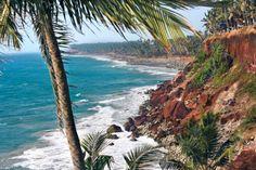 salida del sol en playa varkala tropical