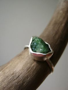 Rough -Raw- Emerald Ring - in Sterling and Pure Silver - Custom size - Updated new stones! on Etsy, $148.00