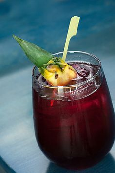 Chicha Morada, aka the Purple Sangria- purple corn, pineapple, cloves, Brachetto, Regional Anejo