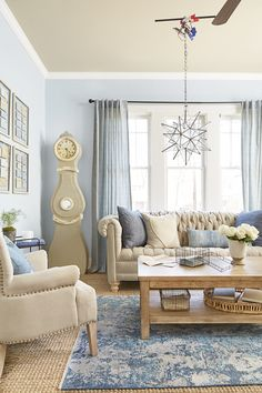 Casual chambray meets classic lines and nostalgic details in a living room that could cure even the worst case of the blues.