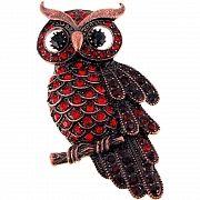 Vintage style Ruby Red Owl Austrian Crystal Bird Pin Brooch