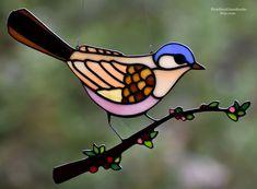 Delightful Stained Glass Bird Suncatcher, Springtime Bird Perched on Blooming Branch, Stain Glass Bird, Bird Sun Catcher, Mother's Day gift