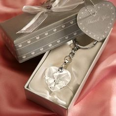 Crystal Heart Key Chain Wedding Party Favors (FashionCraft 2213) | Buy at Wedding Favors Unlimited (http://www.weddingfavorsunlimited.com/crystal_heart_key_chain.html).