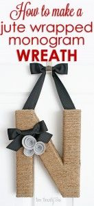 How to: Jute Wrapped Monogram Wreath. This would be so unique and classy for any front door. #handmade #wreath