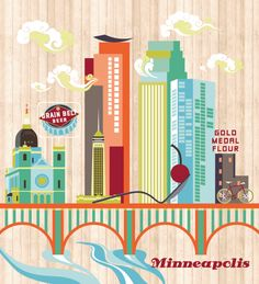 Minneapolis -- illustration done by @Alexandra Doffing! this is awesome (and even printed on a doorway!)