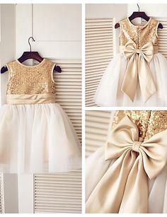 A-line Knee-length Flower Girl Dress - Tulle / Sequined Sleeveless 2016 - $49.99