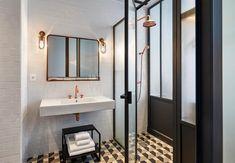hotel bathroom The Hoxton Hotel Paris by Humbert amp; Hotel Paris, Paris Hotels, Paris City, Minimal Bathroom, Small Bathroom, Bathrooms, Bathroom Ideas, Bathroom Things, Rental Bathroom