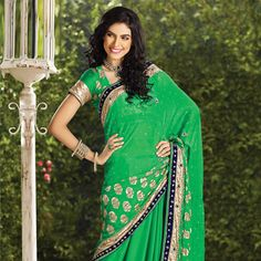 Green Faux Georgette Saree with Blouse