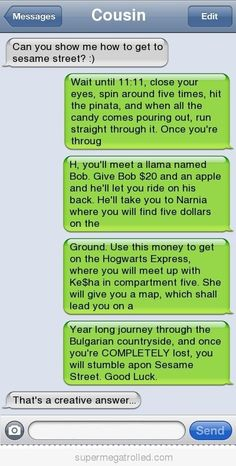 Epic text How to get to sesame street - Funny Text - - Page 214 Autocorrect Fails and Funny Text Messages SmartphOWNED The post Epic text How to get to sesame street appeared first on Gag Dad. Cute Texts, Epic Texts, Funny Texts, Funny Jokes, Funny Minion, Humor Texts, Drunk Texts, Funny Troll, Text Jokes