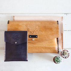 "Handmade Leather Techno Sleeves. 13"" laptop, 15"" laptop, iPad and iPad Mini"