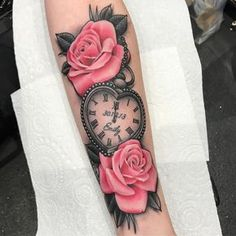 "96 Likes, 3 Comments - Nik Carr (@nikcarrtattoo) on Instagram: ""Heart shaped pocket watch and pink roses done today on Beth. Cheers!"""