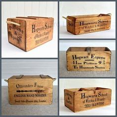 Hogwarts School Wooden Storage Boxes Chests Crates Harry Potter Vintage Style