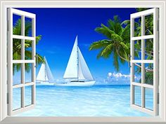 """Wall26 - High Quality Removable Wall Sticker / Wall Mural - Beautiful Tropical Scenery of Sailboats on Beach and Palm Tree 