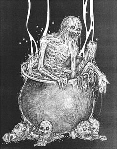 Zombie in a cauldron by Mark Riddick