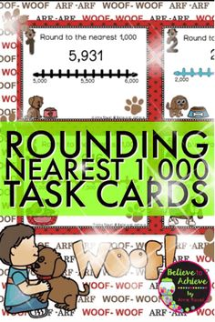 Rounding to Nearest 1,000 (using Number lines) Task cards  *** This set is also available in a Place Value BUNDLE!