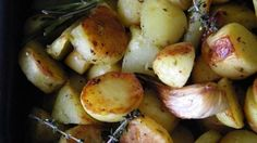 Using less olive oil and more fresh herbs, this healthier version of potatoes are roasted to perfection.