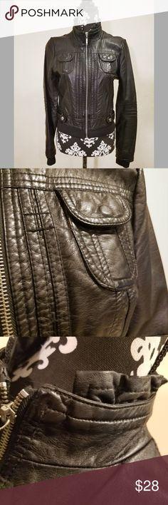 Jou Jou Black Faux Leather Jacket Super Cute Vegan JouJou Jacket.   Shell: Polyurethane  Lining: 100% Polyester  Excellent Condition Jou Jou Jackets & Coats