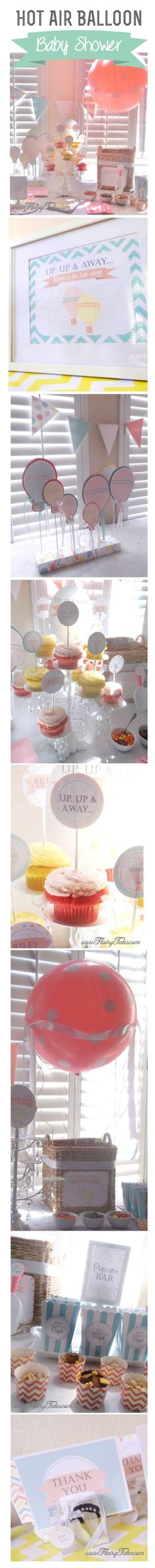 Ideas for a hot air balloon baby shower. Could easily be tweaked for a boy or girl, or gender neutral baby shower. www.flairytales.com