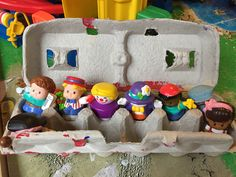Egg cartons can store little people toys!