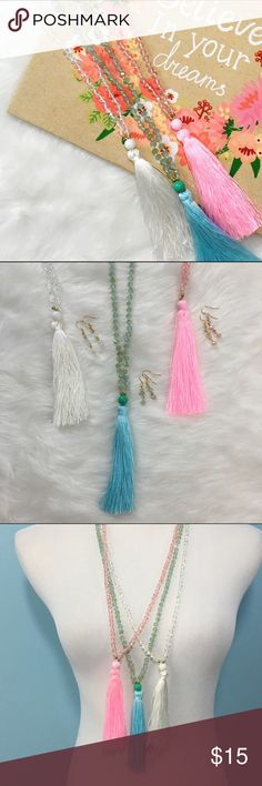 AVAILABLE 6/10!  Tassel Necklaces w/ Colored Beads Take your pick - three great shades to add a little boho to your favorite outfit! Each necklace comes with a FREE matching pair of earrings! Lead & Nickel compliant (but not hypoallergenic certified, if you have metal allergies), and easy to wear. Tassels are IN, grab yours today! ChicBirdie Jewelry Necklaces