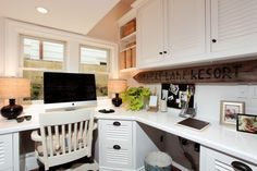 L-shaped desk. Like the doors on the cabinets. Home Office Space, Office Workspace, Office Spaces, New Toilet, Home Decor Inspiration, Decor Ideas, Mudroom, Family Room, Sweet Home