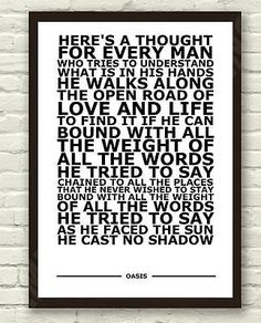 """#Oasis - cast no shadow - white - #typography lyric art poster #print a4 a3 6x4"""",  View more on the LINK: http://www.zeppy.io/product/gb/2/272006762059/"""