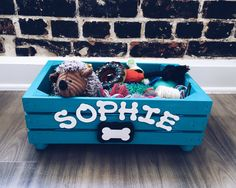 Doggy Toy Box   Personalized Pet Storage   Dog Toy Crate   Toy Storage Box