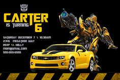 Transformers Birthday Invitation - Personalized Birthday Party Invite - a Digital Printable File