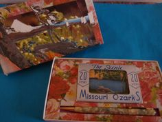 gift box with vintage pen and miniature post cards from the Ozarks