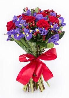 Buchet elegant, trandafiri rosii si irisi mov, un cadou special pentru orice ocazie! Flori elegante si proaspete!😊😊 https://www.floridelux.ro/buchet-trandafiri-rosii-si-irisi-albastru-roial.html