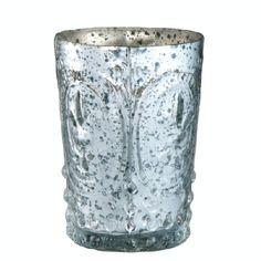 Antiqued Silver Glass Votive Holder with Fleur-de-Lis