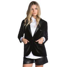 Compre Blazer Amaro Veludo E Detalhes Leather  Preto na Zattini a nova loja de moda online da Netshoes. Encontre Sapatos, Sandálias, Bolsas e Acessórios. Clique e Confira!