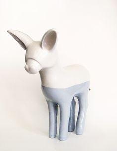 Sculpture, art, ceramics, donkey, unique &hand built. Ciuchino, arte, terraglia bianca, scultura, asino. By Aura Kajas, 2014