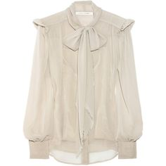 Marc Jacobs Chiffon bow blouse ($435) ❤ liked on Polyvore featuring tops, blouses, shirts, blusas, pink blouse, long shirt, collar blouse, bow collar blouse and chiffon shirt
