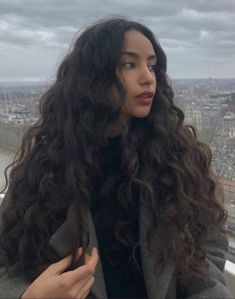 Long Curly Hair, Curly Hair Styles, Girls With Curly Hair, Black Curly Hair, Curly Girl, Hair Inspo, Hair Inspiration, Aesthetic Hair, Grunge Hair