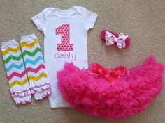 Baby Girl 1st Birthday Outfit Personalized by PickleBeanBoutique