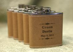 5 Personalized Laser Engraved Leather Flask by precisionengraving, $92.00