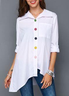 c63937f0e89 Button Front Asymmetric Hem Pocket White Blouse