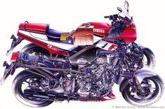 "Yamaha Cutaway by Makoto Ouchi. ""Yamaha Cutaway by Makoto Ouchi. Yamaha Fz, Yamaha Bikes, Cool Motorcycles, Best Motorbike, Technical Illustration, Moto Bike, Sportbikes, Cutaway, Bike Life"