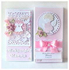 Pamiątka chrztu... Baby Girl Diaper Bags, Baby Girl Cakes, Kids Cards, Baby Cards, Baptism Favors, Wedding Anniversary Cards, First Holy Communion, Christening Gifts, Baby Scrapbook